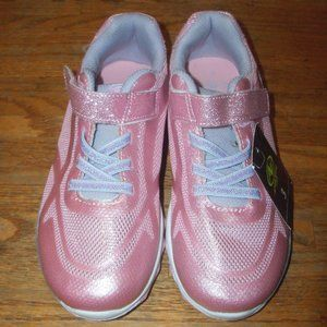 NWT Girls Size 3 Pink Glittery EZ On/Off Sneakers